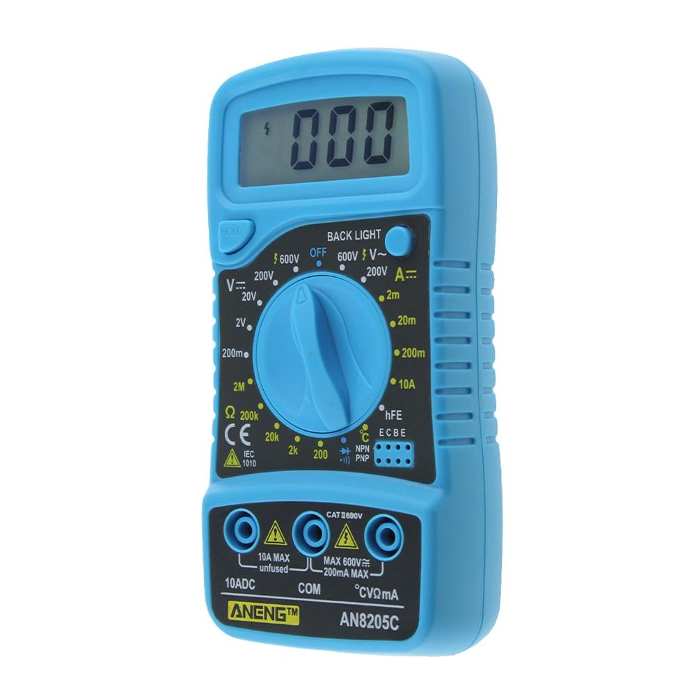 AN8205C Digital LCD Multimeter Ammeter Voltmeter AC/DC/OHM Volt Current Tester Temperature Tester