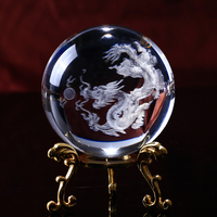 Creative gift Chinese Dragon Crystal Ball 3D Laser Engrave Specimens Creative Glass Ball Globe Craft Gift Home Decoration
