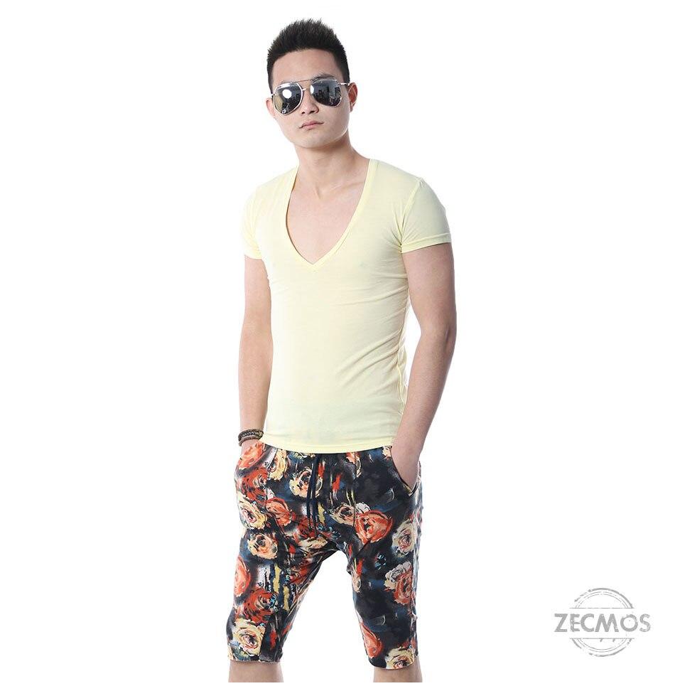 Zecmos Deep V Neck Sexy Men T-Shirt Vintage Short Sleeve Solid Color Muscle Fit T Shirt Men Top Tees Fashion 49