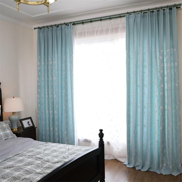 2017 moderne geborduurde gordijnen lichtblauw wit bladeren gordijnen vitrages pastorale gordijn woonkamer