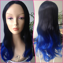 afro Long curly ombre black blue lace front mid part wig heat resistant Blended hair wig