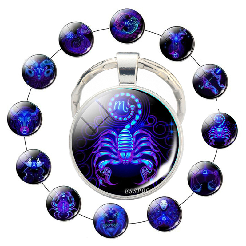 12 Zodiac Sign Scorpion Lion Glass Metal Keychain Women Men Couples Keychain Car Key Holder Rings Fashion Astrology Gifts