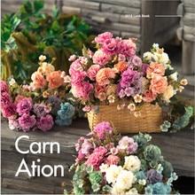 5pcs silk carnation stamen wedding home Decorative Flowers scrapbooking diy needlework Wreaths Gifts box artificial flowers artificial bouquet of 5pcs carnation