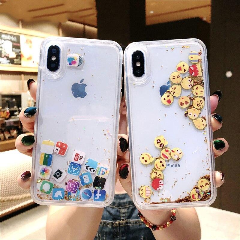 Cute Apps Icon Emoji Liquid Glitter Quicksand Case for