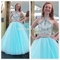 Vestidos De Graduacion Sparkly Vestidos de Festa Júnior Halter Estilo Luz Azul 2 Peça de Vestidos de Baile 2015 Vestidos Formais Longos da Noite