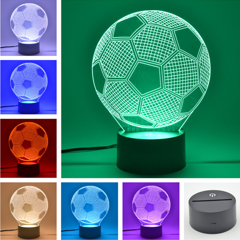 AUCD 3D Table Lamp Football Childrens Kid Christmas Gift Table USB Novelty 7 Colors Change LED Night Light Lamp -FS20