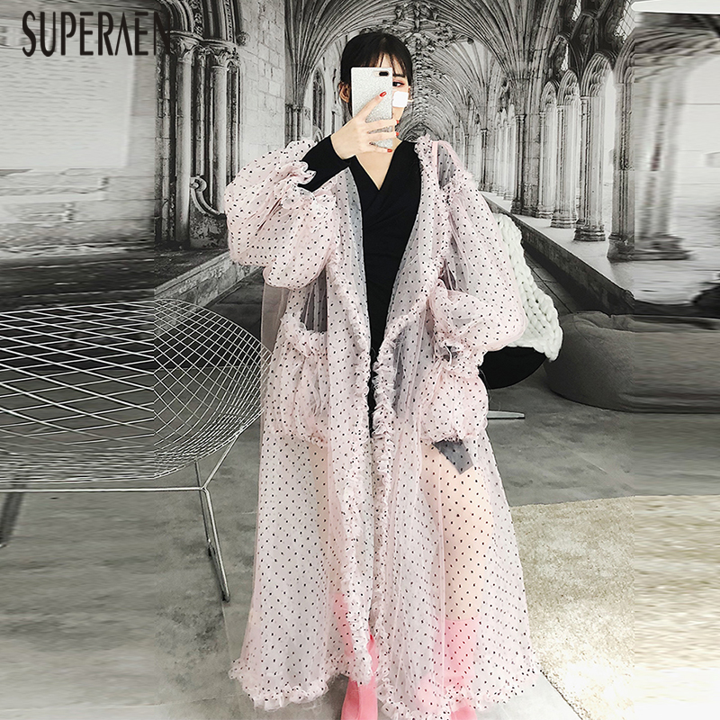SuperAen Autumn Women 2018 New Puff Sleeves Women Shirts Casual Fashion Wild Long Mesh Cardigan Blouses