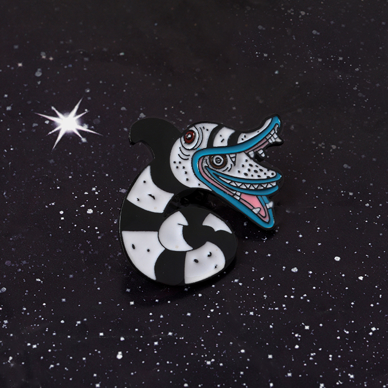 Beetlejuice Sandworm Reptile Animal Occult Gift Constellation Halloween Double Snake Black White Enamel Snake Brooches Pins Aliexpress