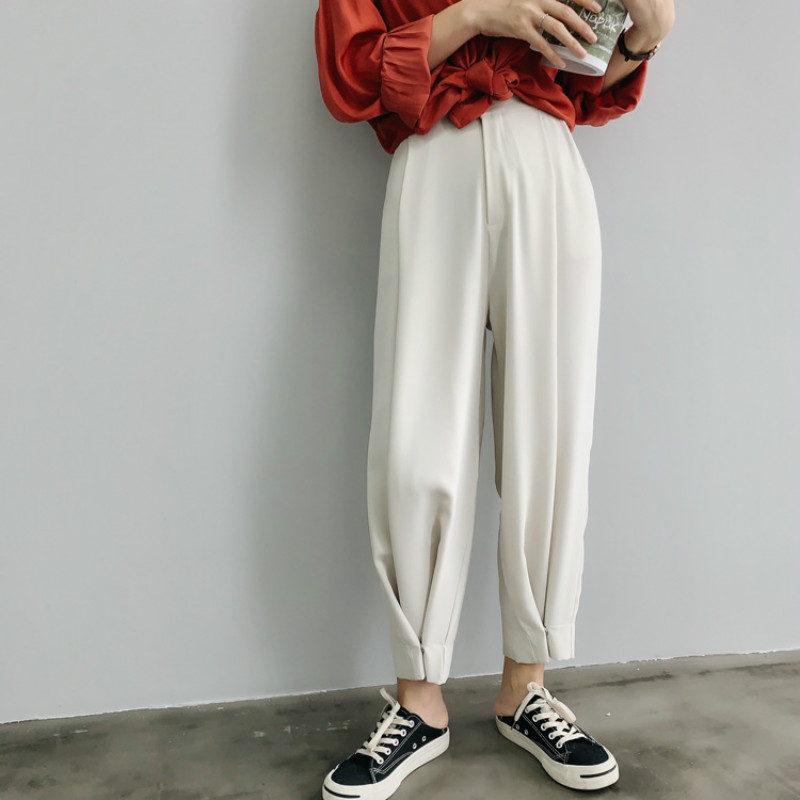 Early autumn 2019 new korean style women wide leg   pants     capris   bottom buttons design solid color casual trousers