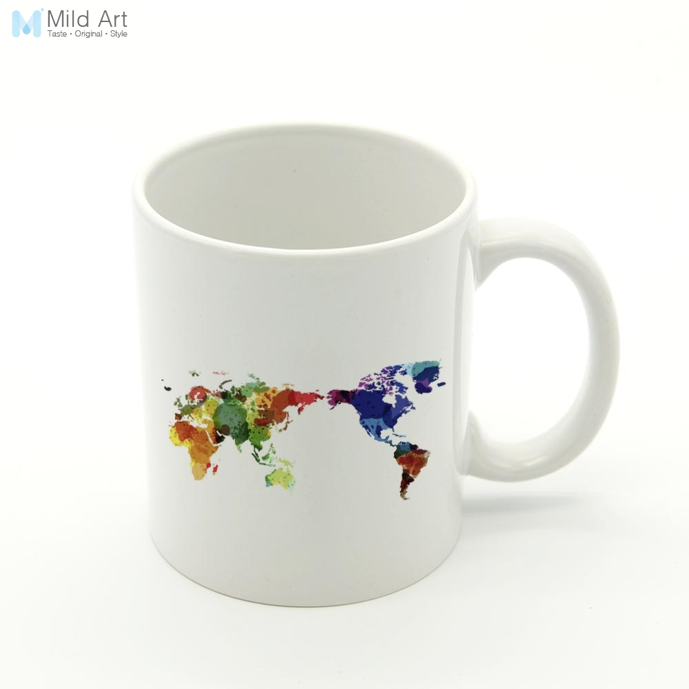 Colorful Modern Abstract Minimalist World Map Kitchen Ceramic Water Cup Creative Gift Drinks Office Bar Coffee Tea Milk Mugs Set image