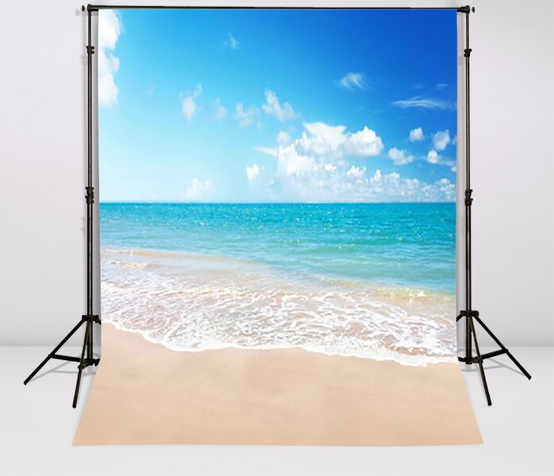 Blue Sky Beach Resort Photography Backgrounds Vinyl cloth High quality Computer printed wedding beach themed backdrop sea beach blue sky backdrops vinyl cloth computer printed wedding backgrounds for sale