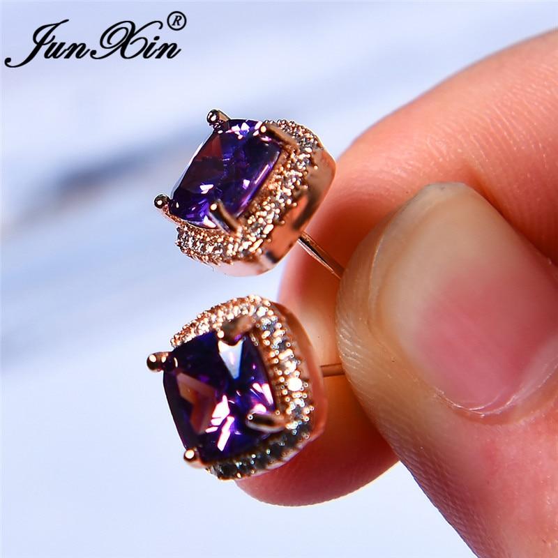 JUNXIN Real Photos Purple/Yellow/Green Zircon Square Stud Earrings For Women Ros