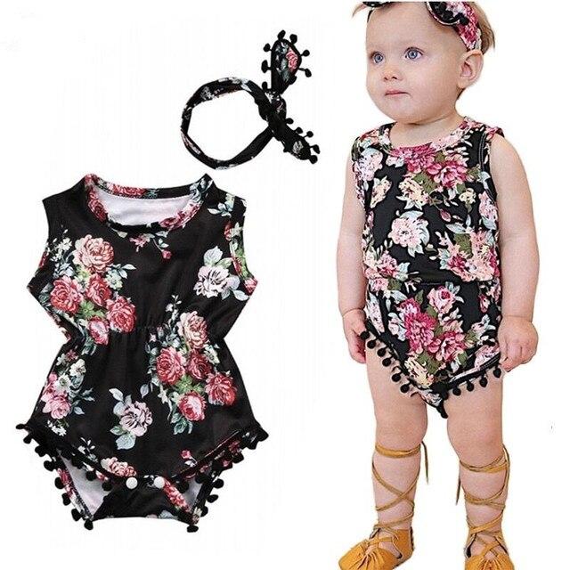 e15dbc45df9 Baby Girl Romper Newborn Clothes 2019 Summer Floral Tassel Bodysuit  Jumpsuit+Headband 2PCS Outfit Sunsuit baby girl Clothing Set