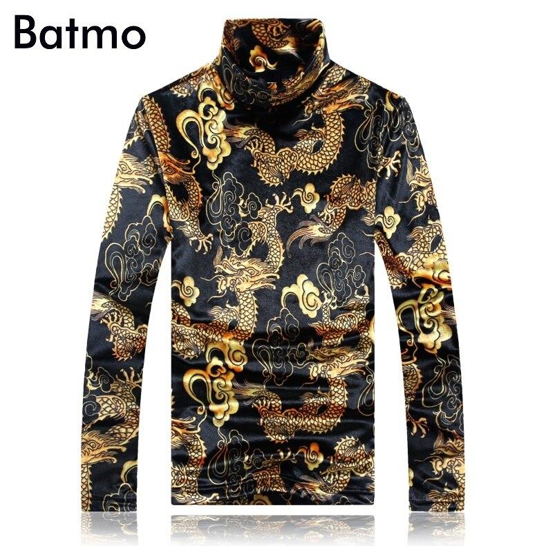 BATMO 2018 nouveauté hiver haute qualité velours imprimé dragon col roulé t-shirts hommes, hommes t-shirt grande taille 59085