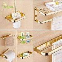 Античная Европейский Латунь Золото Аксессуары для ванной набор 7 Товаров Полотенца полка Аксессуары для ванной комнаты