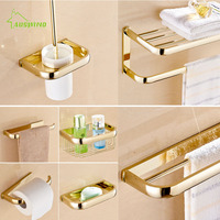 Antique European Brass Gold Bathroom Hardware Set 7 Items Towel Rack Shelf Bathroom Accessories