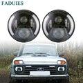FADUIES 2Psc 7 дюймовый светодиодный фар H4 H13 (Подол короче спереди и длиннее сзади) с Halo Ангельские глазки для Lada 4x4 urban Niva Jeep JK <font><b>Land</b></font> rover defender Hummer
