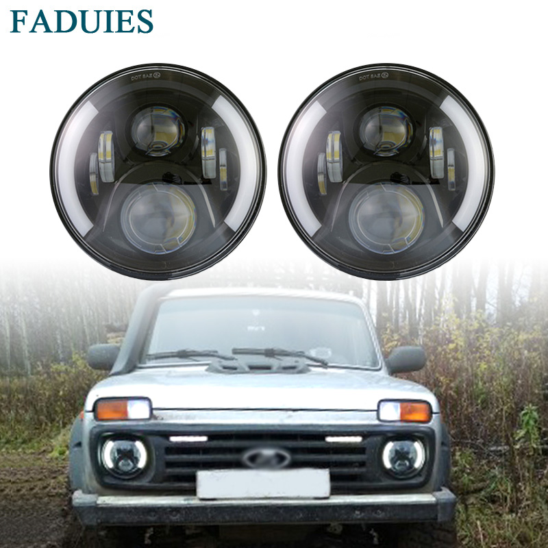 FADUIES 2Psc 7 Inch LED Headlight H4 H13 Hi-Lo With Halo Angel Eyes For Lada 4x4 urban Niva Jeep JK Land rover defender Hummer co light 105w round 7 inch led headlight h4 h13 angel eye hi lo drl 12v 24v for jeep wrangler land rover lada niva 4x4 off road