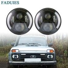 Faduies 2Psc 7 дюймов светодиодные фары H4 H13 Hi-Lo с Halo глаза ангела для lada 4×4 городской Нива джип JK Land Rover Defender Hummer