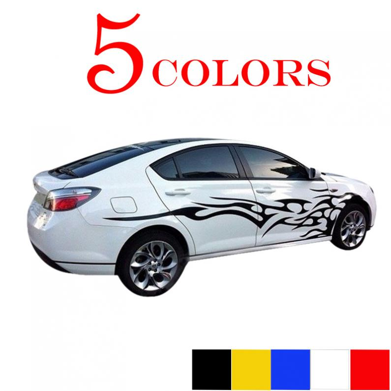 HOT 1 Pair Universal Car The Whole Body Sticker Fire Flame Decor Vinyl Decals Auto Truck 1pair universal fashion car sticker decals fire flame decor vinyl decoration stickers auto truck styling for the whole car body
