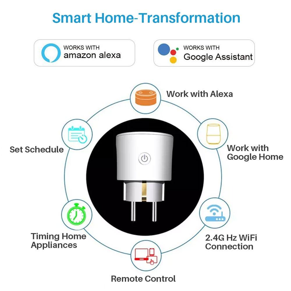 Smart Plug EU WiFi Socket 16A Timing APP Control Via iOS