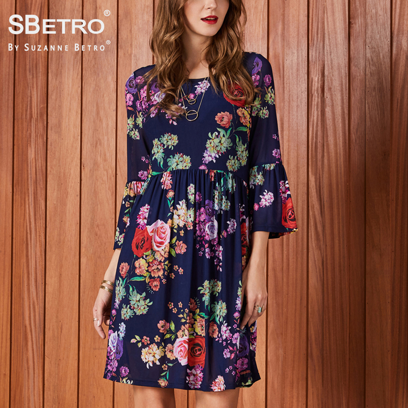 c02c6b01a25 SBetro Women Party Dresses Empire Waist Knee Length Bell Sleeve Print Mesh  Floral Dressy Summer Ladies