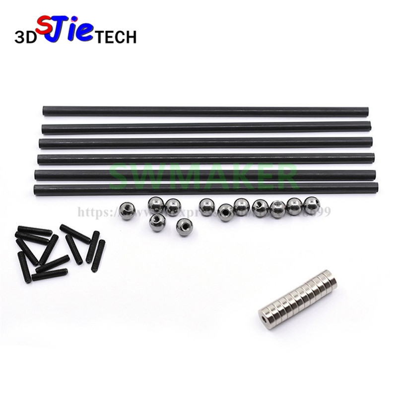 Hot!6pcs 3d Printer Parts Delta Kossel 6*4mm 100-500mm 3k Fiber Carbon Push Rod Parallel Arm Suitable For Mini 5347 K800 Crease-Resistance 3d Printers & 3d Scanners