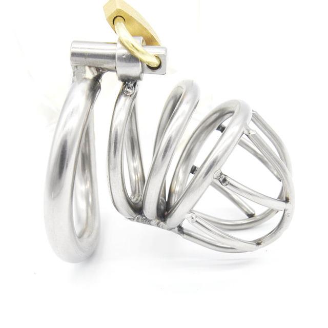 Aço inoxidável cinto de castidade masculino gaiola caralho com arc-shaped anel penis chastity gaiola dispositivo de castidade masculino brinquedos sexuais produtos do sexo
