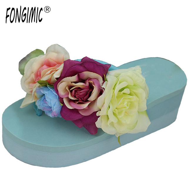 51d80079b28b8 New arrival summer time fashion women handmade Flower flip flops women  casual comfortable wedges holiday candy color slippers