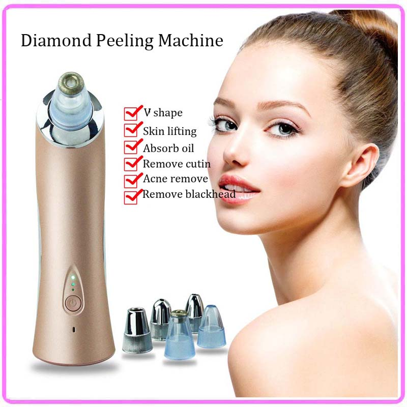 Vacuum Diamond Microdermabration Blackhead Acne Cleaner Removal Skin Lifting Tightening V Shape Face Beauty Massager Machine diamond microdermabrasion vacuum suction nose blackhead acne pores cleaner removal ems skin lifting tightening beauty machine