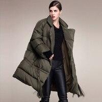 Высокое качество 2018 новые модные женские туфли 90% г. Роскошные Белое пуховое пальто Для женщин плюс Размеры длинная парка