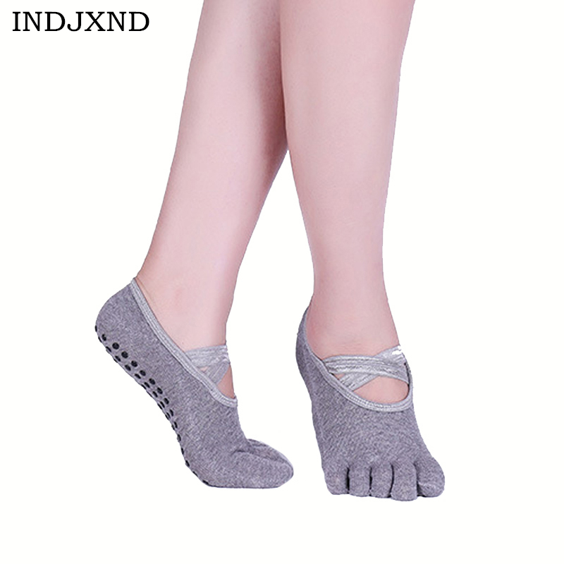 INDJXND Summer New Womens Boat Socks Sweat Deodorant Five Finger Socks Antiskid Anti Cross Bandages Straps Invisible Toe Socks