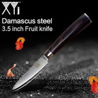 XYj Brand 3 5 Inch Damascus Steel Paring Knife High Quality Lightweight Effort Color Wood Handle