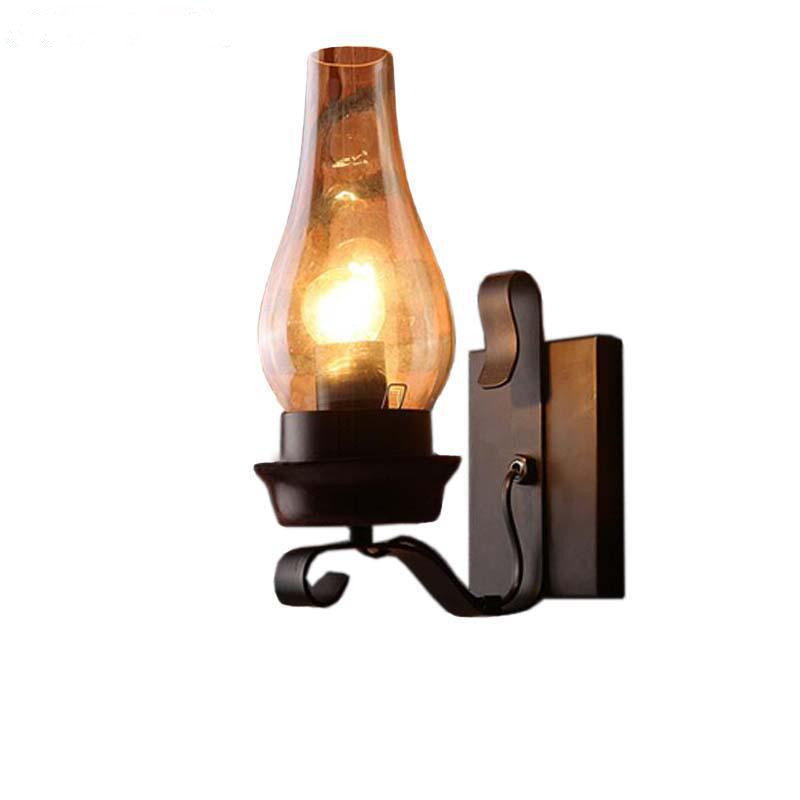 Vintage Iron Wall Lamps American Bar Wall Lights Personalized Clear Glass Lamp cover Led Sconce Indoor Wall Lights For Home novelty led wall lamps glass ball wall lights for home decor e27 ac220v