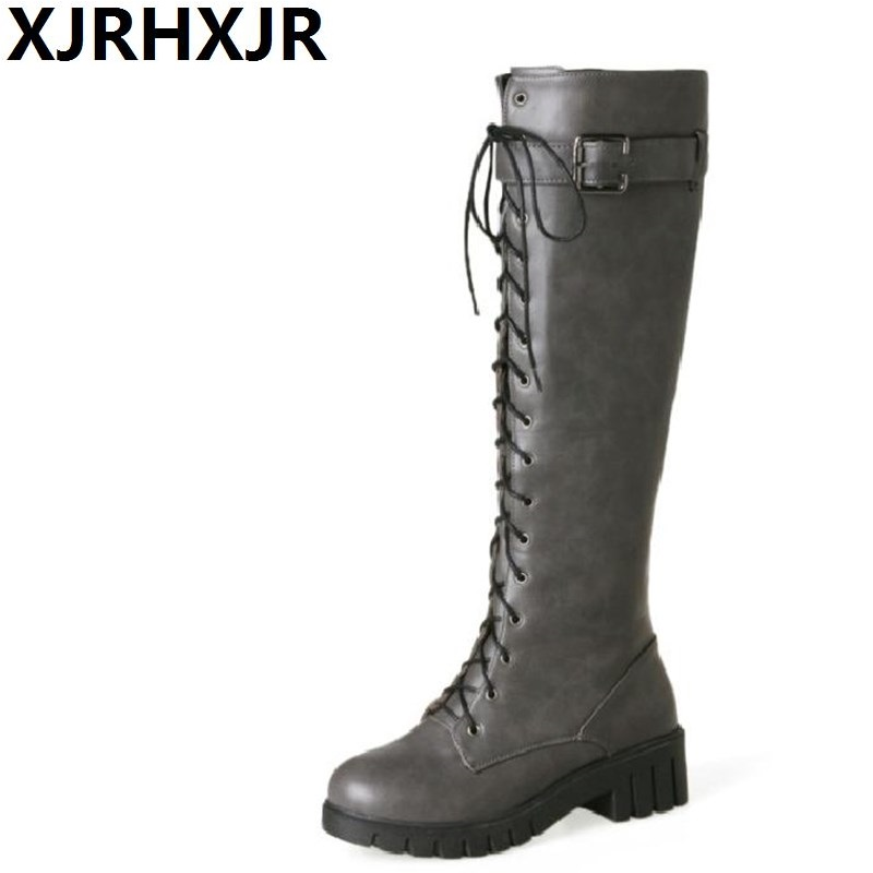 XJRHXJR 2018 New Autumn Winter Knee High Long Boots Women Shoes Fashion Cross Straps Ladies Motorcycle Boots Thick Heels formulamod pci 6pin motherboard power extension cable 18awg 6pin extension cable for water cooling computer fmpci6p c