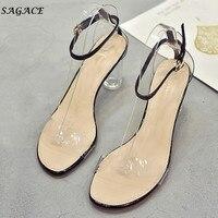 c0ec8913b SAGACE Shoes Women Fashion Transparent Sandals Ankle High Heels Block Party  Open Toe Shoes Hot Sale