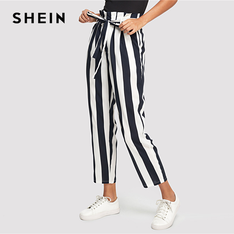 SHEIN Navy Elegant Workwear Office Lady Frill Trim High Waist Striped Tapered Self Belted Pants Autumn Women Casual Trousers