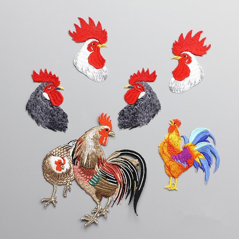 1 Stück Stickerei Hahn Hahn Patches für Kleidung Paste Realistische Tierkleidung Kleines Loch Reparatur Dekoration Eisen Auf Patches