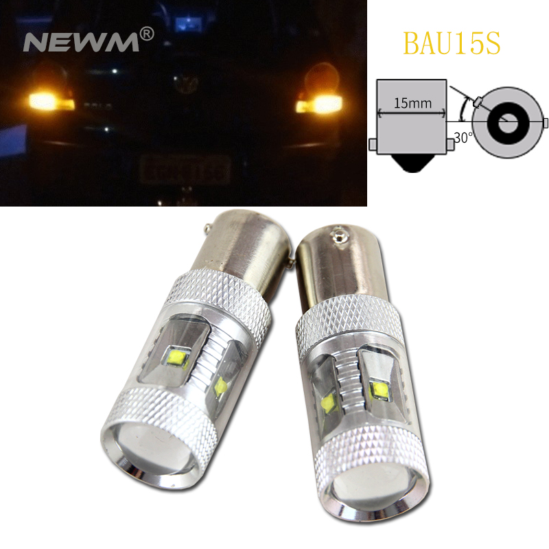 2pcs Daytime Running Light 1156 BAU15S <font><b>PY21W</b></font> <font><b>LED</b></font> Amber <font><b>Orange</b></font> Yellow Bulb With Cree Chip image
