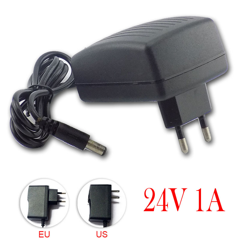 <font><b>AC</b></font> 100V-240V DC Power <font><b>Adaptor</b></font> Converter <font><b>24V</b></font> 1A For LED Strip Light CCTV Mini TV Power Adapter Charger Switch 5.5mm*2.1mm US EU image