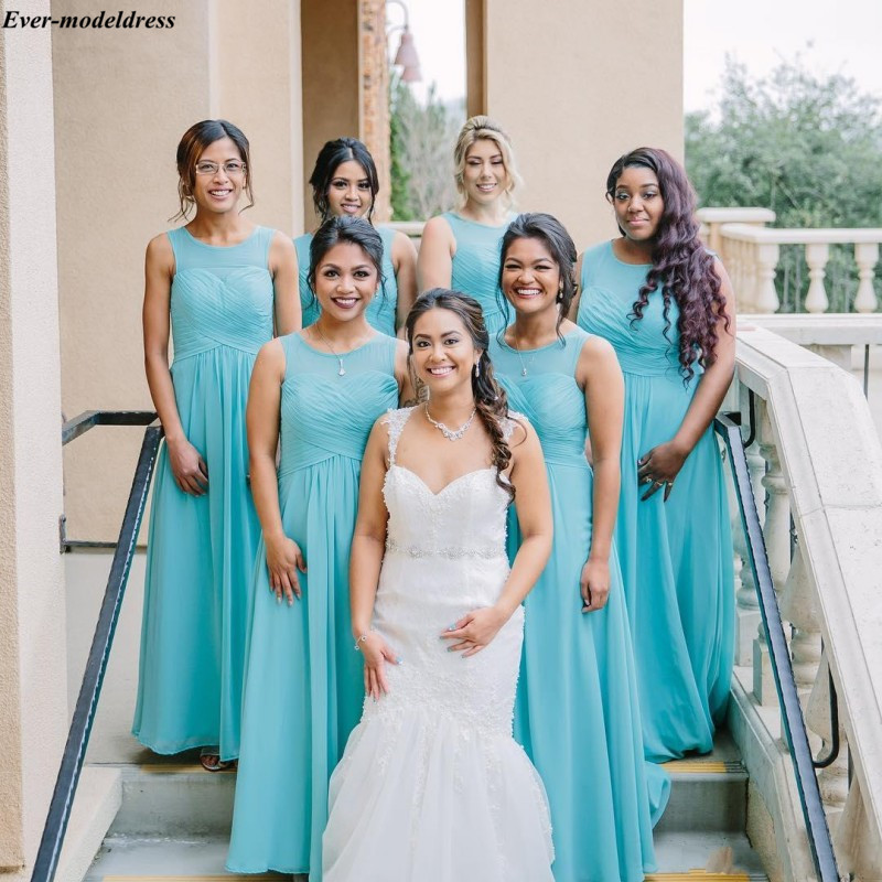 Simple   Bridesmaid     Dresses   Cheap Chiffon A-Line Floor Length O-Neck Lace Up Back Long Prom Party Gowns Wedding Guest   Dresses
