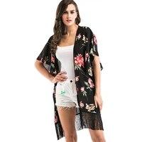 Floral Print Tassels Hem Loose Women Chiffon Kimono Casual Batwing Sleeve Plus Size Long Cardigan Plus