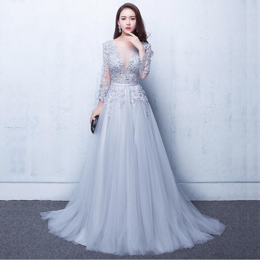 Beauty Emily New Three Quarter Illusion Backless Lace Up Flowers Elegant Evening Dress Floor Length Party Gown Evening Gowns