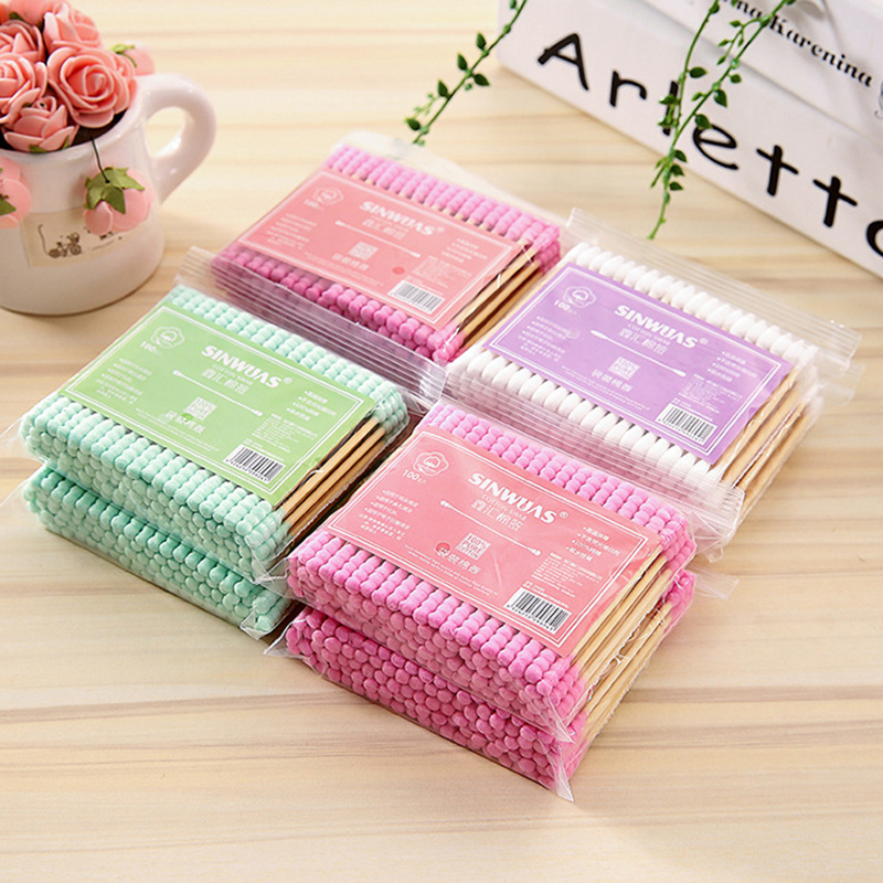 100 Pcs Double Head Cotton Swab Bamboo Makeup Cotton Buds Tip For Medical Wood Sticks Nose Ears Cleaning Health Care Tools