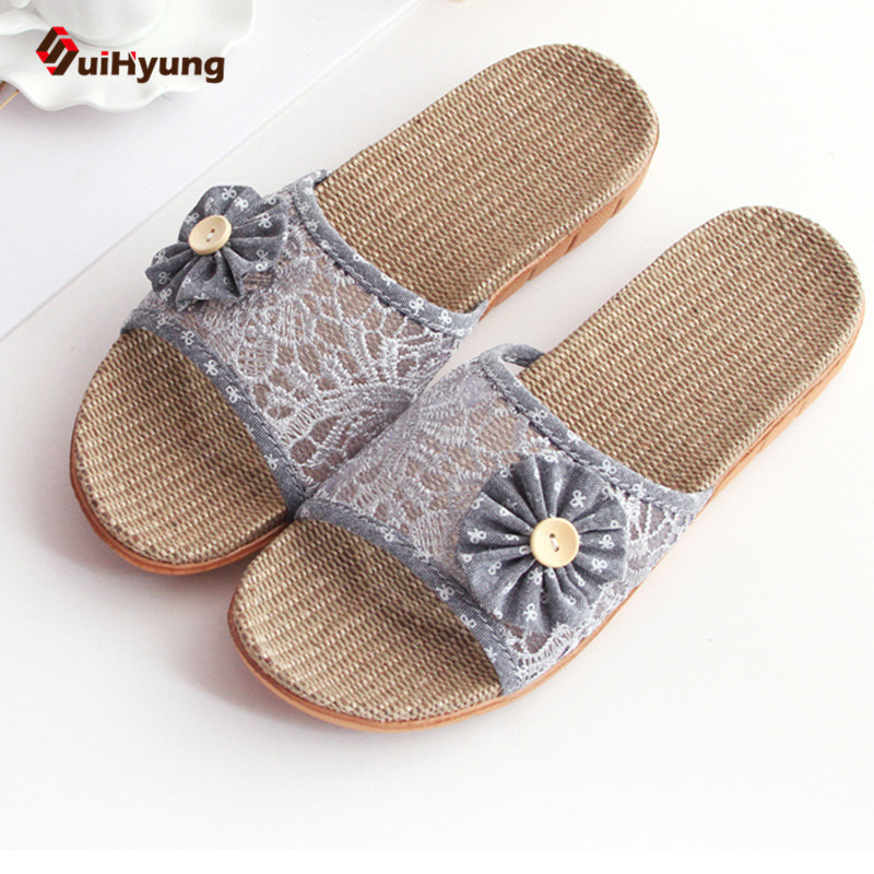 Suihyung  New Women's Shoes Summer Beach Slippers Sandals Embroidered Lace Flowers Home Non-slip Linen Slippers Female Flip Flop 2016 summer new boys and girls shoes korean sports beach sandals wear non slip