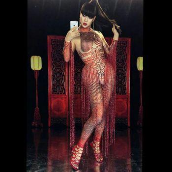 Glisten Rhinestones Red Jumpsuit Women Sexy Tassel Outfit Nightclub Female Singer Costume Stage Dance DS Performance Clothing