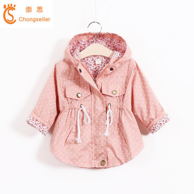 be9db4f8b Girls Trench Coat Spring 2018 Children Clothing Kids Hooded Jackets ...