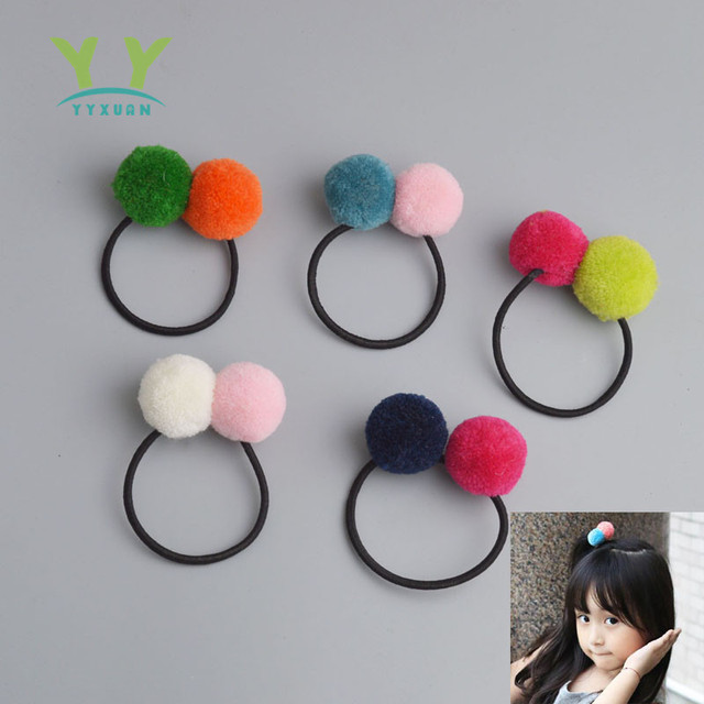 Plush Ball Student color Beads Hair Rope Girls Hair Accessories Ponytail Elastic Hair Band Hair Tie AS038