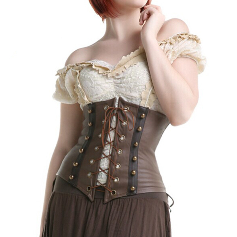 2019 Sexy Gothic Steampunk Faux Leather   Corset   Underbust Brown Body Shaper Corselet   Bustier   Corsage Lace Front For Women S-XXL