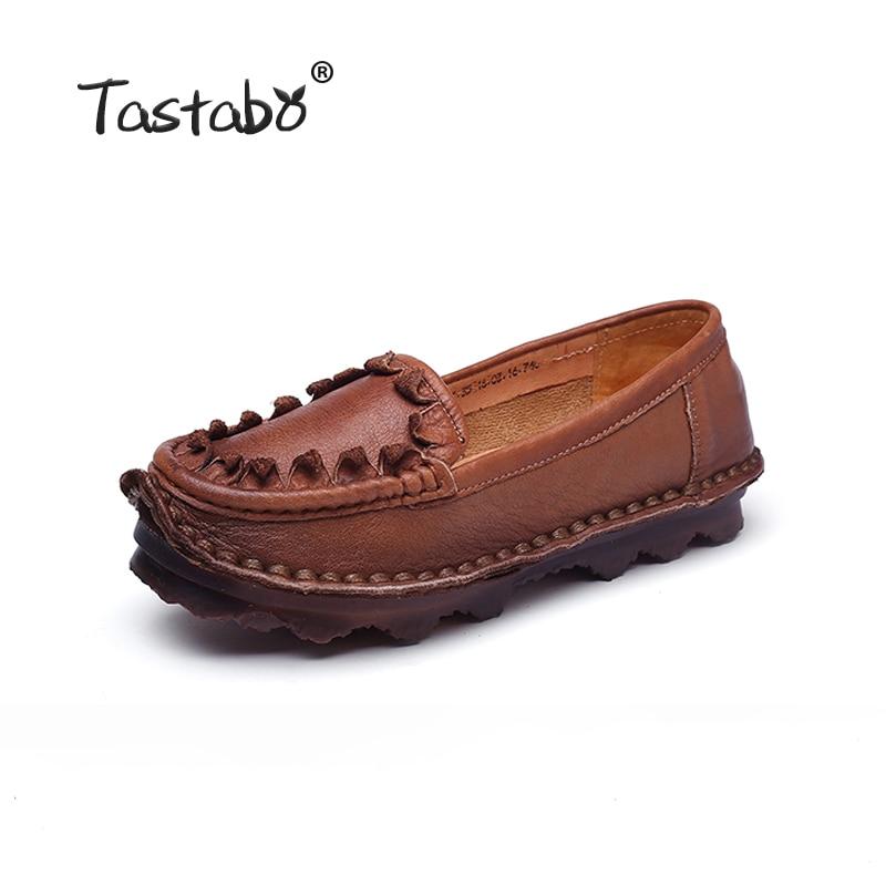 design inovator pantofi eleganti farmecul costurilor Tastabo Femei Flats Handmade 100% Piele Full Grain piele de toamna ...